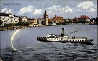 Schiffe ~1910 Lindau Bodensee Hafen Dampfschiff kleines Fahrgastschiff Ship
