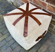 Canvas & Genuine Leather Union Jack Square Cubed Pouffe / Footstool - 40cm Wide