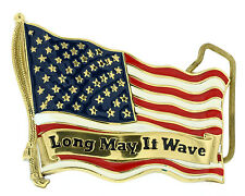 """""""Long May It Wave"""" US Flag Solid Brass Belt Buckle"""