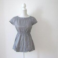 ESPRIT Damen Bluse Tunika T-Shirt  34 36 S grau tailliert Schleife urban blogger