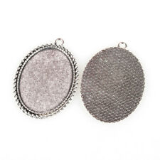 10pcs Tibetan Style Alloy Pendant Cabochon Settings Oval Antique Silver Finding