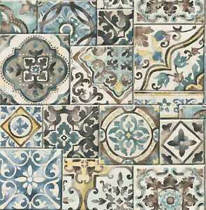 A-Street Prints by Brewster 2701-22315 Reclaimed Marrakesh Tiles Teal Mosaic