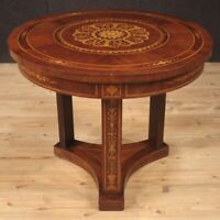 Round side table living room furniture in inlaid wood antique style antiques