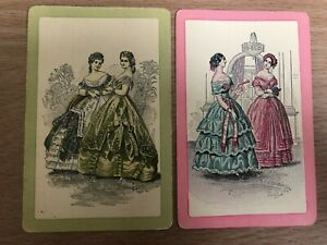 Vintage Victorian Woman Fashion Dress Lady SINGLE Linen Swap Playing Cards Pair