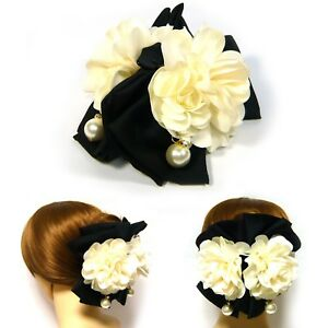 Extra-Large White Fabric Flower Black Bow Plastic Hair Claw Jaw Clip Clamp Grip