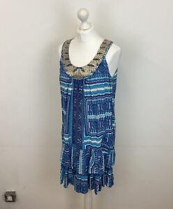 Monsoon Layered Shift Dress Blue Sequins & Embroidery Sz Medium Ladies