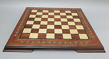"""17"""" HAND CRAFTED SOLID WALNUT WOOD """"HELENA"""" CHESS BOARD WITH MOTHER OF PEARL"""