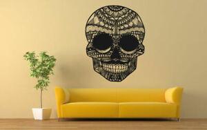 Wall Vinyl Room Sticker Decals Mural Design Art Scull Floral Skeleton bo592