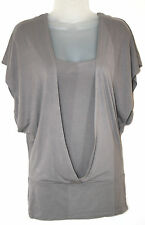 JANE NORMAN (UK8 / EU36) MID-GREY TWO-IN-ONE STRETCH LONGER TOP