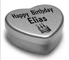 Happy Birthday Elias Mini Heart Tin Gift Present For Elias WIth Chocolates