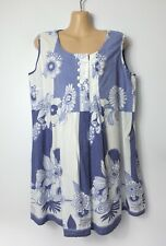 M&CO blue & white patchwork floral sleeveless longline tunic vest blouse, 14