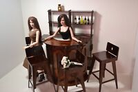"BAR furniture for Dolls Tonner Cami 16-18"" wood BAR PUB RESTAURANT round new set"