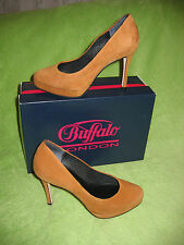 ** Buffalo Plateau Pumps High Heels Veloursleder ** Gr. 38 ** Curry **