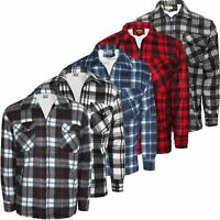 Mens Lumberjack Insulated Fleece Lined Flannel Work Warm Jacket Padded Shirt Zip