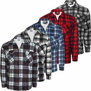 Mens Lumberjack Insulated Fleece Lined Flannel Work Warm Jacket Padded Shirt Zip