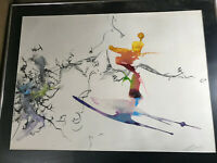 """Large Paul Harryn 1995 """"Abstract Scene"""" Mixed Media Painting - Signed And Framed"""