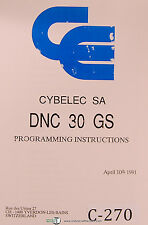 Cybelec SA DNC 30 GS, Programming Instructions Manual 1991