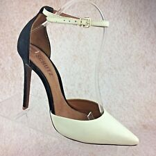 Schutz Black & White Leather Stiletto High Heel Ankle Strap Pointed Toe Pumps 8M