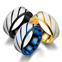 8mm Stainless Steel Ring Man Women Jewelry Band Black Silver Gold Blue Size 5-13