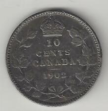 CANADA,  1902, 10 CENTS,  SILVER,  KM#10,  FINE-VERY FINE+