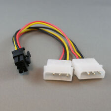 """8"""" Inch (20cm) Dual 4-pin Molex to 6-pin PCI-E PCI Express Power Adapter Cable"""