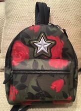 NWT COACH MINI CHARLIE BACKPACK PURSE CAMO RED ROSE PRINT SOLD OUT STAR GREEN