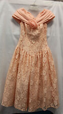 Lori Ann Womens VINTAGE Peach 1960-1980 Formal Dress Size 3/4 Great Used Cond