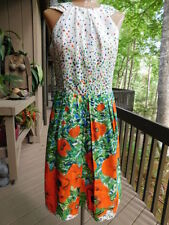 MILLY New York authentic SUN DRESS orange POPPIES flower on green blue white 4