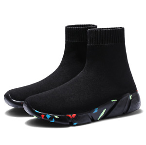Mens High Top Sneakers Slip Casual Athletic Breathable Sports Sock Shoes US13