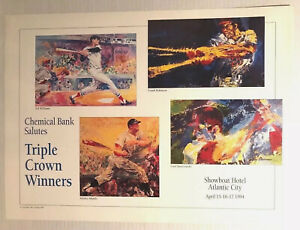 LeRoy Neiman Triple Crown Winners Poster 1994 Mickey Mantle Yastrzemski Williams
