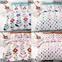 Flowers & Petals Retro Reversible Bedding Duvet Quilt Cover Set & Pillowcases