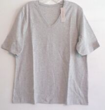 NWT!-BY CHICO'S ELBOW SLEEVE VNECK TEE/TOP-SZ 3(L/XL)-HEATHER GRAY-100%COTTON.