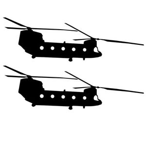 Qty 2 Chinook Silhouette Stickers Kids Room Wall Decals Pack B 10cm - 50cm