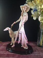 LADY WITH LARGE DOG by Artist A. Santini Sculpture Figurine # 0004/2000