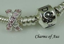 925 Sterling Silver Pink Crusted Cross Your Heart charm. Beautiful for Christmas