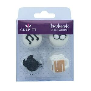 Moustache, Glasses, Music & Beer Sugar Pipings - Pack of 12 RP Cake Decorations