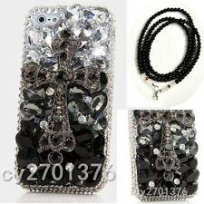 Glitter Luxury Bling Gems Diamonds Soft back phone Case Cover & neck strap #A9
