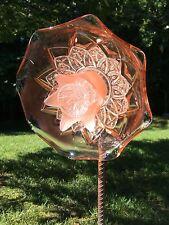 Coral Spiked Clear Petal Cut Glass Garden Flower Repurposed Suncatcher Yard Art