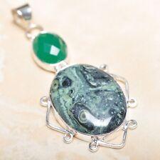 HECHO A MANO JASPE KAMBABA Piedra Preciosa colgante de plata ley 925 7cm p14451