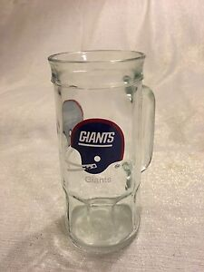 Vintage 1980s New York Giant Fisher Nuts Glass Mug Stein Two Bar Helmet Facemask