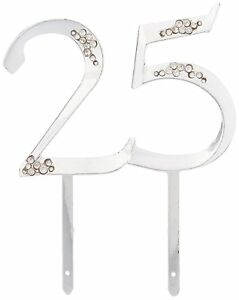 NEW Wilton Silver 25th Anniversary Party Pick Cake Cupcake Topper Decorating
