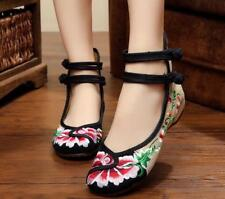 Womens Chinese Embroidered Flat Shoe Vintage Lady Mary Janes Ballet Strap Loafer