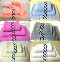 3 Piece LUXURY 100% COTTON EMBROIDERED BATH TOWEL  HAND TOWEL, FACE TOWEL