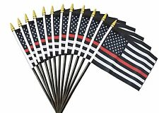 "Wholesale Lot of 12 USA Fire Department Thin Red Line Memorial 4""x6"" Desk Flag"