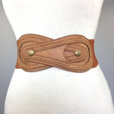 Women's (New) Brown Fashionable Wide Elastic Stretch Buttoned High Waist Belt