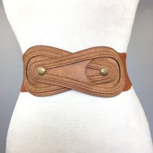 Women's (New) Brown Fashionable Wide Elastic Stretch Buttoned High Waist Belt