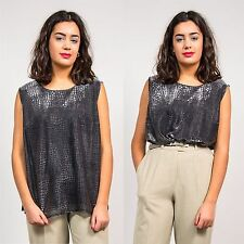 WOMENS VINTAGE SILVER SCOOP NECK VEST TOP 90'S STYLE RETRO GLAM GOING OUT 18