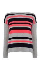 KAREN MILLEN kv156 Grey Black Pink Stripe Zip Back Jumper Sweater Size 2 10/12