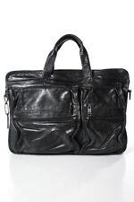 Tumi Mens Black Leather Multi-Pocket Messenger Shoulder Bag