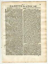 1748, Feb.17, Original French Gazette # 8, Period of the 3rd intercolonial war